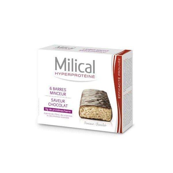 Milical Hyperprotéiné x6 Barres Minceur Saveur Chocolat
