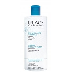 Uriage Eau Micellaire Thermale Hydrate Demaquille Nettoie Peaux Normales à Sèches 500 ml