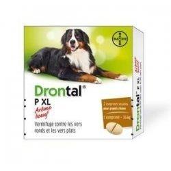 Bayer Drontal P XL Vermifuge Grand Chien Arôme Viande x2 Comprimés