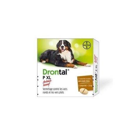 Bayer Drontal P XL Vermifuge Grand Chien Arôme Viande x2 Comprimés pas cher, discount