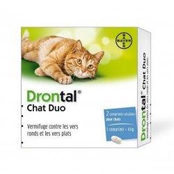 Drontal Chat Duo Vermifuge Contre Les Vers Ronds et Plats 2 Comprimés  pas cher, discount
