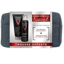 Vichy Homme Trousse Naturel : 1 Gel Douche Hydra Mag C + 1 Mousse à raser + 1 Trousse OFFERTE pas cher, discount