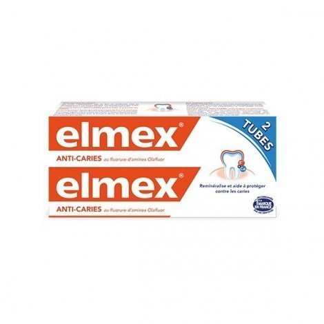 Dentifrice Elmex Protection Caries au Fluor 2 x 75 ml pas cher, discount