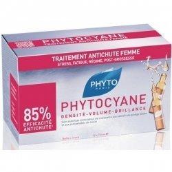 Phyto Phytocyane Ampoules Soin Anti-chute Femme Densité Volume Brillance 7,5x12 ampoules