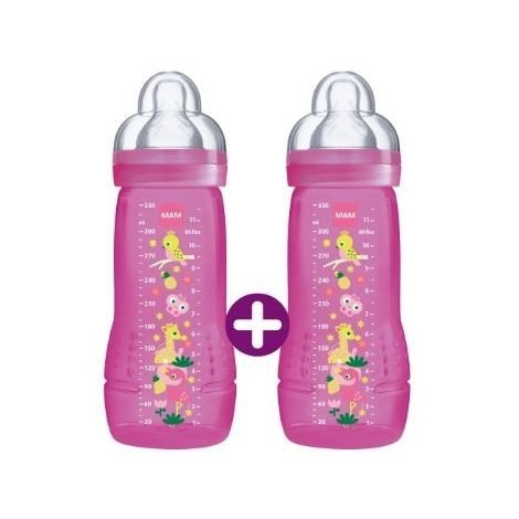 Mam 2 Biberons 2ème Age Easy Active +6 mois 2x330ml Rose MOTIF VARIABLE pas cher, discount