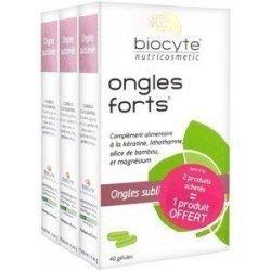 Biocyte Ongles Forts Ongles Sublimés 2 Achetés 1 Offert 3x40 gélules pas cher, discount