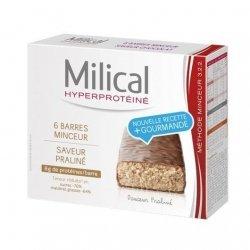 Milical Barres Hyperprotéinées Minceur Saveur Praliné x6 pas cher, discount