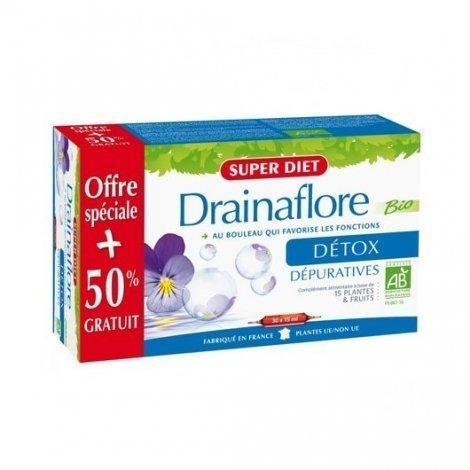 Super Diet Drainaflore Bio Detox 20 Ampoules de 15 ml + 10 OFFERTES ! pas cher, discount