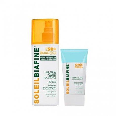 Soleil Biafine Lait Spray Solaire SPF 50+ 200 Ml  + Lait Après Soleil Nourrissant 50ml pas cher, discount