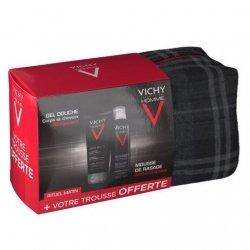 Vichy Coffret  Homme : 1 Gel douche + 1 Mousse à raser + 1 Trousse OFFERTE pas cher, discount