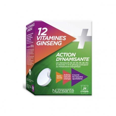 Nutrisanté 12 Vitamines + Ginseng Action Dynamisante x 24 Comprimés à croquer pas cher, discount