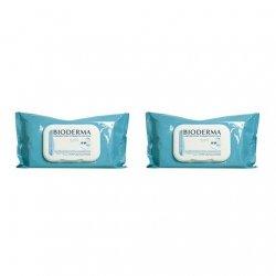 Bioderma ABCDerm H2O 2x60 Lingettes Nettoyantes Biodégradables pas cher, discount