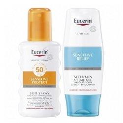 Eucerin Sun Spray SPF50 200ml + After Sun Crème-Gel 150ml pas cher, discount