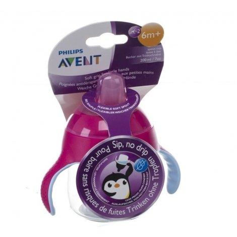 Avent gobelet anti fuite pinguin rose 200ml pas cher, discount
