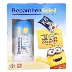 Bepanthen Soleil Coffret Spray Enfant SPF50+ 200ml + Serviette Minions OFFERTE