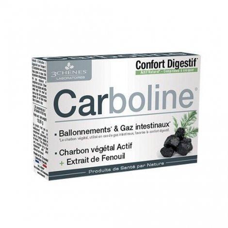 3 Chênes Carboline Confort Digestif Charbon Végétal x30 Comprimés pas cher, discount