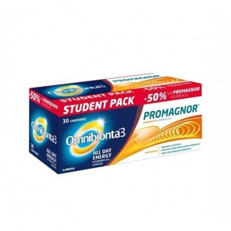 Student Pack Omnibionta 3 All Day Energy 30 comp + Promagnor 30 caps pas cher, discount