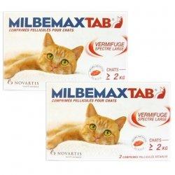 MilbemaxTab LOT de 2x Vermifuge Spectre Large Chats de Plus de 2 kg 2 Comprimés