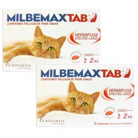 MilbemaxTab LOT de 2x Vermifuge Spectre Large Chats de Plus de 2 kg 2 Comprimés pas cher, discount