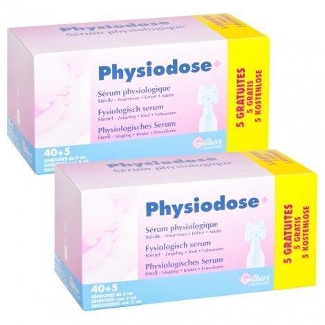 Physiodose Sérum Physiologique Stérile Gilbert LOT de 2x40 unidoses de 5 ml + 10 GRATUITES pas cher, discount