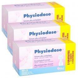 Physiodose Sérum Physiologique Stérile Gilbert LOT de 3x40 unidoses de 5 ml + 15 GRATUITES