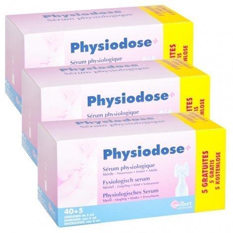 Physiodose Sérum Physiologique Stérile Gilbert LOT de 3x40 unidoses de 5 ml + 15 GRATUITES pas cher, discount
