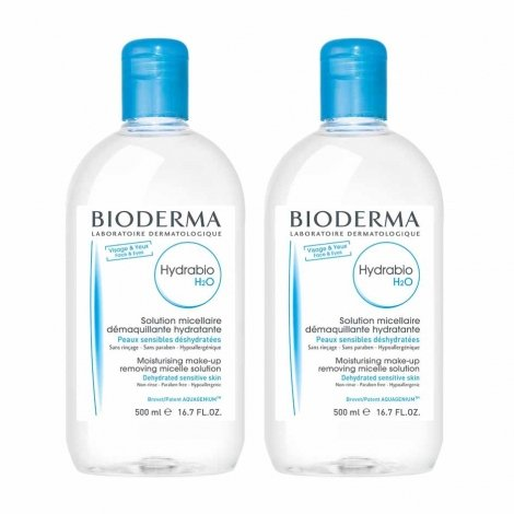 Bioderma Hydrabio H2O LOT de 2 Solutions Micellaires 500 ml pas cher, discount