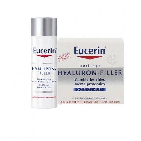 Eucerin Hyaluron-Filler LOT Soin de Jour Comblement de Rides Peaux Normales à Mixtes 50 ml + Crème de nuit 50ml pas cher, discount
