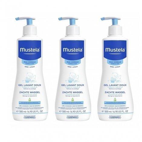 Mustela LOT de 3 Gels Lavant Doux Dermo Nettoyant 500 ml pas cher, discount