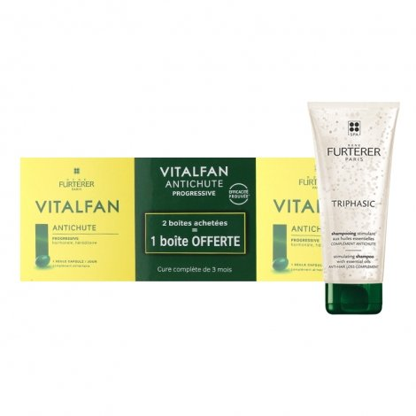 Furterer LOT Anti-chute: Vitalfan 3x30 capsules + Shampooing Triphasic Anti-chute 250ml pas cher, discount