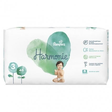 Pampers Harmonie T3 6-10kg Jumbo 46 unités pas cher, discount
