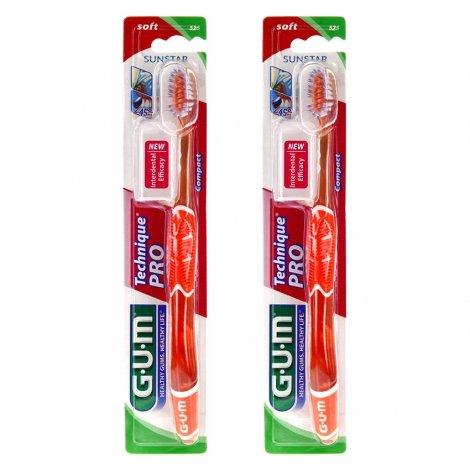 Gum Lot de 2 Brosses à Dents Technique Pro Compact Souple 525 - Couleur Variable pas cher, discount