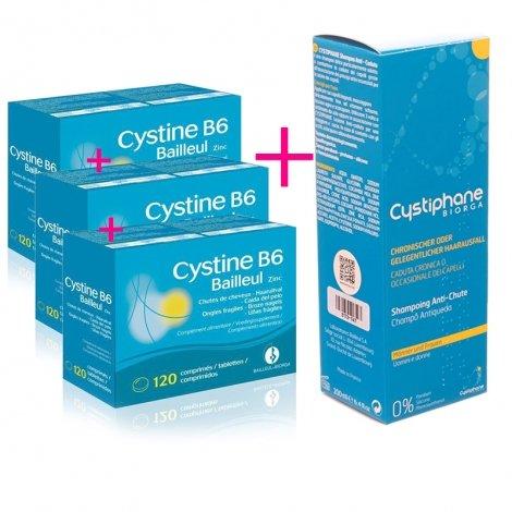 Cystine B6 anti-chute 3 x 120 comprimés + Cystiphane Biorga Shampooing Anti-Chute 200ml OFFERT pas cher, discount