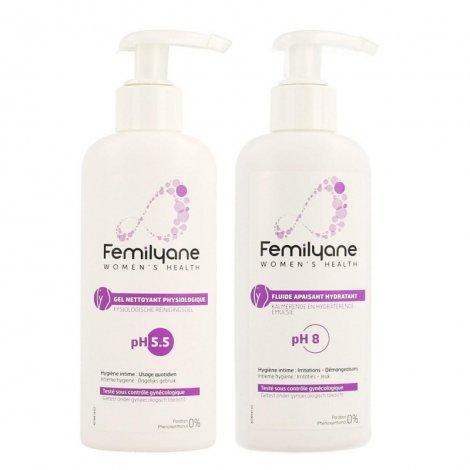 Femilyane Pack Gel Nettoyant Physiologique pH5.5 200ml + Fluide Apaisant Hydratant pH8 200ml pas cher, discount
