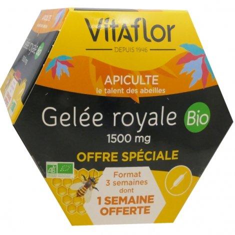 Vitaflor Gelée Royale Bio 1500mg 20 ampoules de 15ml (1 SEMAINE OFFERTE) pas cher, discount