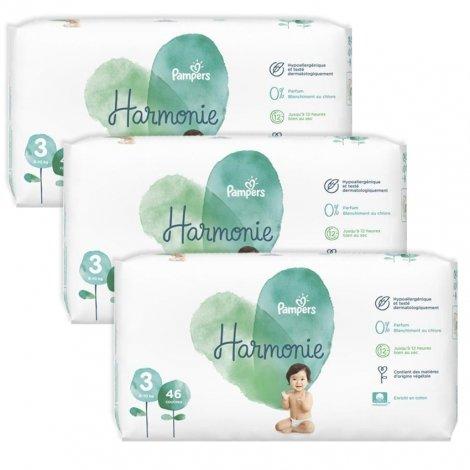 Pampers pack Harmonie T3 6-10kg Jumbo 3x46 (138 unités) pas cher, discount