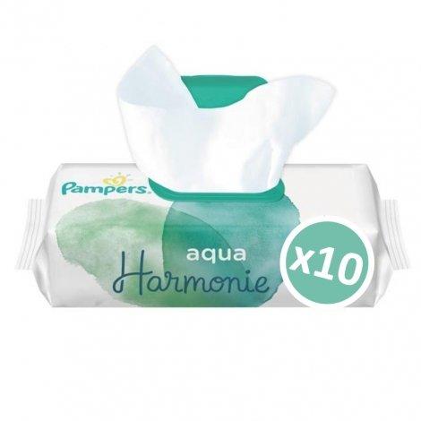 Pampers pack Lingettes Aqua Harmonie 10x48 unités (480 unités) pas cher, discount