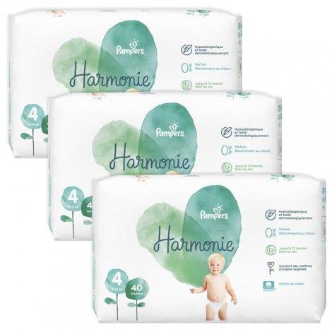 Pampers pack Harmonie T4 9-14kg Jumbo 3x40 (120 unités) pas cher, discount