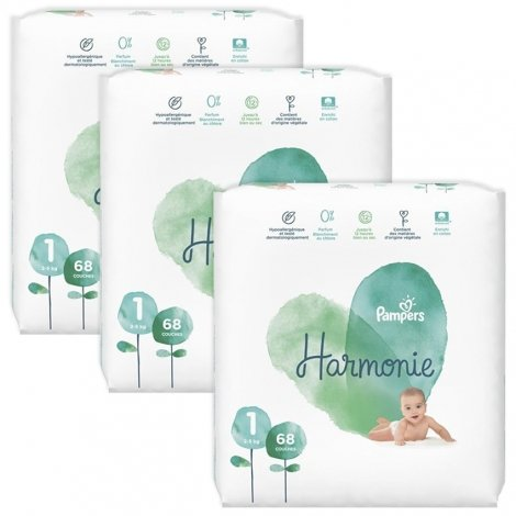 Pampers pack Harmonie T1 2-5kg Jumbo 3x68 (204 unités) pas cher, discount