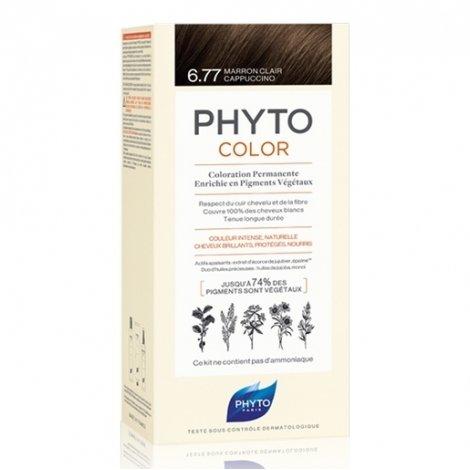 Phyto Color Coloration Permanente 6.77 Marron Clair Cappuccino pas cher, discount