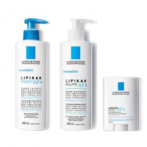 La Roche- Posay Lipikar LOT Syndet AP+ Crème Lavante Relipidante 400ml + Baume AP+ 400 ml + Sticks AP+ 15ml pas cher, discount