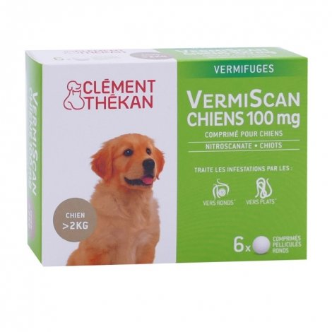 Clément Thékan VermiScan Chiens 100mg 6 comprimés pas cher, discount