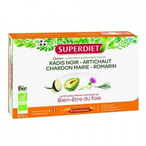 Superdiet Quatuor Chardon Marie Bien-Etre du Foie Bio 20 Ampoules pas cher, discount