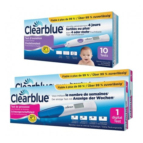 Clearblue 10 Tests D'ovulation Digital 2 Hormones + Clearblue 2 tests de grossesse indicator pas cher, discount