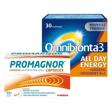 Omnibionta Pack Omnibionta 3 All Day Energy 30 comp + Promagnor Magnésium 90 caps pas cher, discount