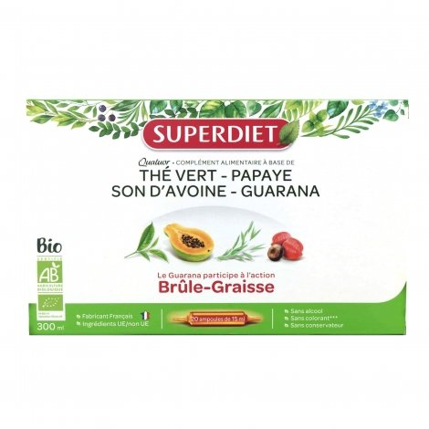 Superdiet Quatuor Brûle Graisse Thé Vert, Papaye, Son d'Avoine, Guarana x20 ampoules pas cher, discount
