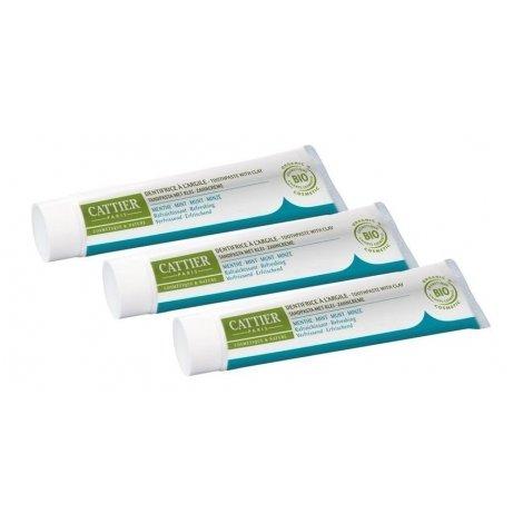 Cattier Trio Pack Dentargile Dentifrice Menthe 3x75ml pas cher, discount