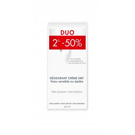 Vichy Déodorant Crème 24h Anti-Irritations Duo 2x40ml pas cher, discount