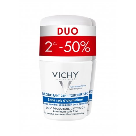 Vichy Déodorant Sans Sels d'Aluminium 24H Roll-on 2x50ml pas cher, discount