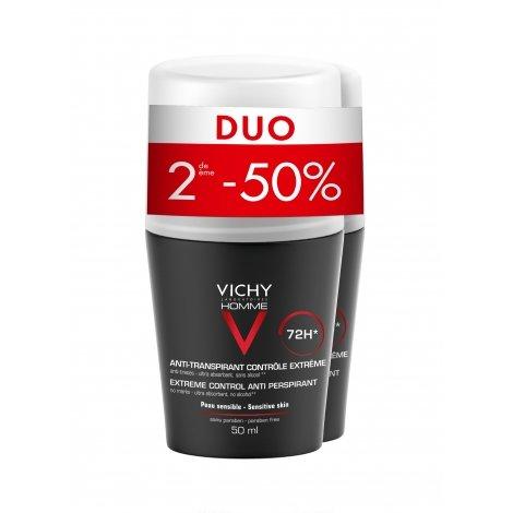 Vichy Homme Déodorant 72H Contrôle Extrême Roll-On Lot 2 x 50 ml pas cher, discount